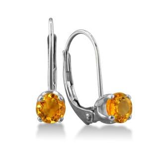 1/2 Carat Citrine Leverback Earrings In 14 Karat White Gold