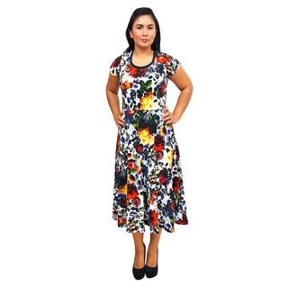 Women's Short Sleeve Scoop Neck Floral Dress