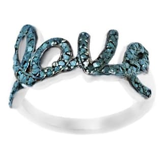 Pori Sterling Silver 3/5ct TDW LOVE Genuine Blue Diamond Ring