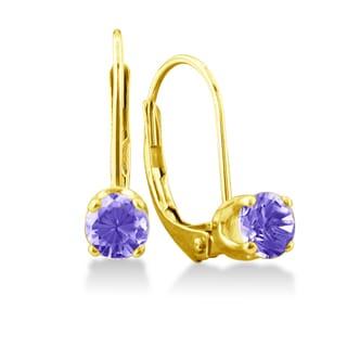1/2 Carat Tanzanite Leverback Earrings In 14 Karat Yellow Gold