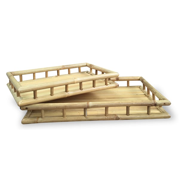 Bamboo Trays with Open Rail Sides (Set of 2)