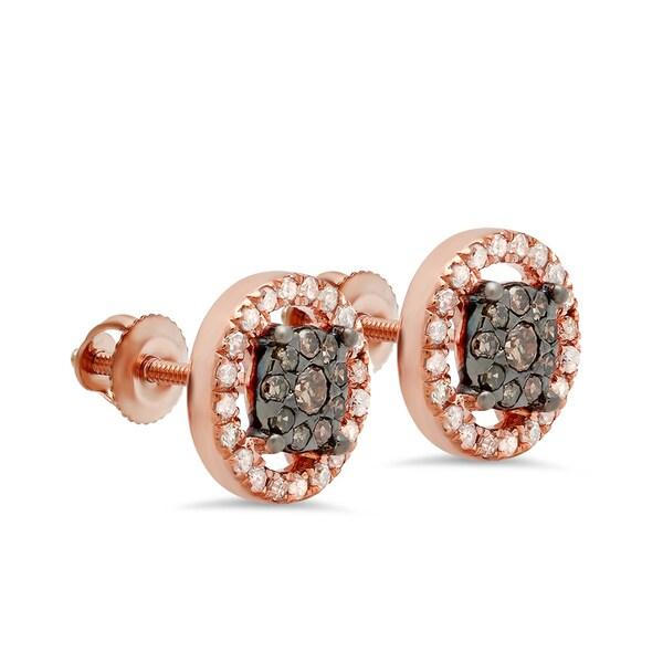 14k Rose Gold 1/2ct TDW Round Champagne Diamond Cluster Stud Earrings (I-J, I2-I3)