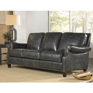 Lazzaro Leather Nathan Charcoal Sofa