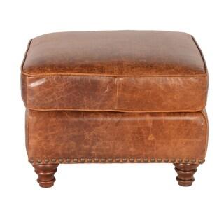 Lazzaro Leather Alexus Caramel Ottoman