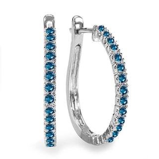 14k White Gold 1/2ct TDW Round Blue Diamond Hoop Earrings (I1-I2)