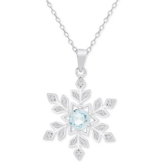 Dolce Giavonna Sterling Silver Blue Topaz and Diamond Accent Snowflake Necklace