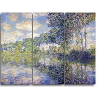 Design Art 'Claude Monet - Poplars on the Epte' Canvas Art Print - 36Wx32H Inches - 3 Panels