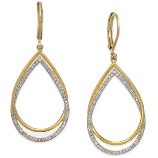 Finesque Gold Over Sterling Silver 1/4 Ct TDW Diamond Dangling Earrings