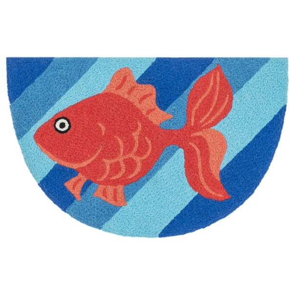 Hand-hooked Marcy Blue/ Orange Goldfish Hearth Rug (1'9 x 2'9)