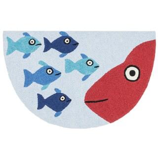 Hand-hooked Marcy Blue/ Orange Fish Hearth Rug (1'9 x 2'9)