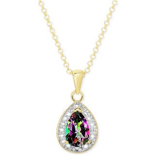 Dolce Giavonna Gold Over Sterling Silver Mystic Topaz Necklace