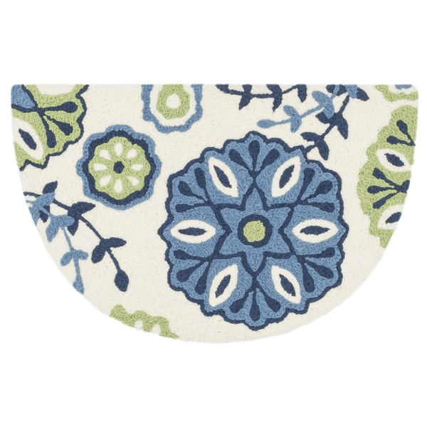 Hand-hooked Marcy Blue/ Green Bloom Hearth Rug (1'9 x 2'9)