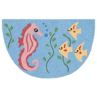 Hand-hooked Marcy Light Blue/ Multi Seahorse Hearth Rug (1'9 x 2'9)