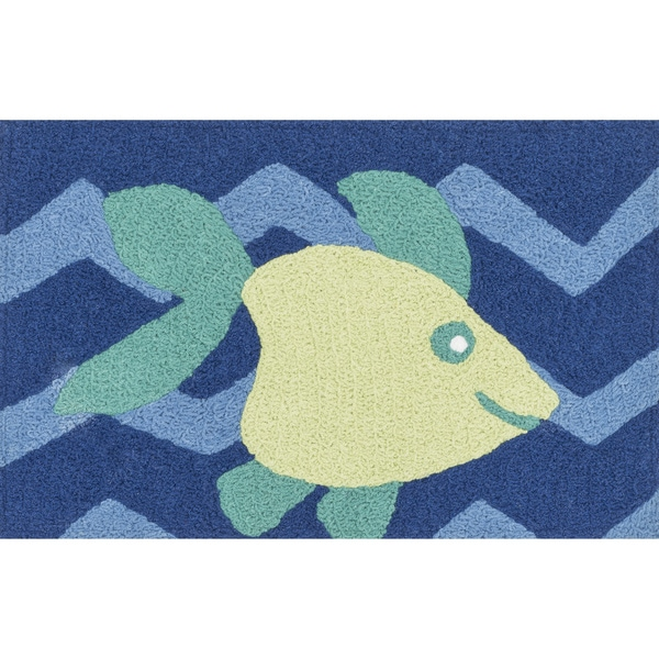 Hand-hooked Marcy Blue/ Yellow Fish Rug (1'9 x 2'9)