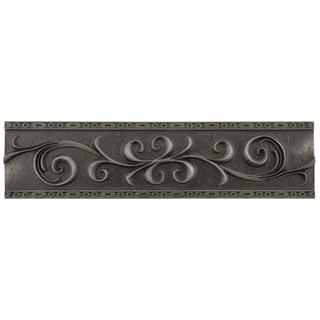 SomerTile 3x12-inch Courant Scroll Wrought Iron Resin Liner Trim Wall Tile (Pack of 5)