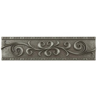 SomerTile 3x12-inch Courant Scroll Pewter Resin Liner Trim Wall Tile (Pack of 5)