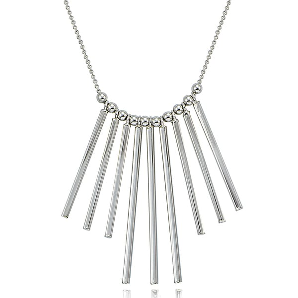 Mondevio Silver Bars Statement Necklace