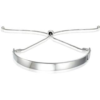 Mondevio Silver Pull-string Bar Adjustable Bracelet