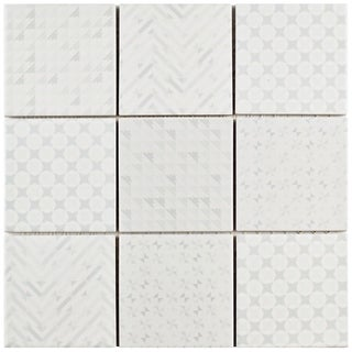 SomerTile 11.625x11.625-inch Geoshine White Porcelain Mosaic Floor and Wall Tile (Case of 5)