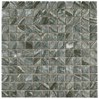 SomerTile 11.75x11.75-inch Umbria Black Porcelain Mosaic Floor and Wall Tile (Case of 10)