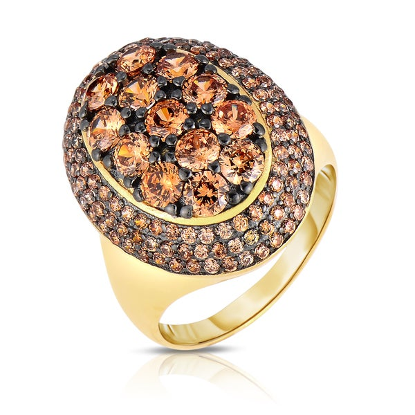 Collette Z Sterling Gold Plated Amber Silver Cubic Zirconia Oval Ring