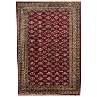 Herat Oriental Pakistani Hand-knotted Prince Bokhara Red/ Gold Wool Rug (7' x 10')