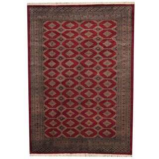 Herat Oriental Pakistani Hand-knotted Prince Bokhara Red/ Gray Wool Rug (7' x 10')