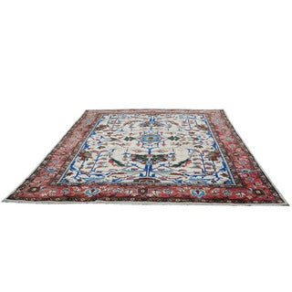 Herat Oriental Afghan Hand-knotted Vegetable Dye Oushak Ivory/ Rust Wool Rug (14' x 17'6)