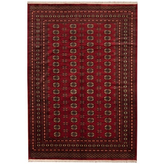Herat Oriental Pakistani Hand-knotted Prince Bokhara Red/ Gold Wool Rug (7' x 10'2)