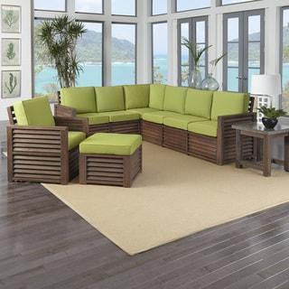 "Barnside 80.5 x 104.5 Corner ""L"" Sofa, Chair, Ottoman, and End Table Green Apple Cushions"