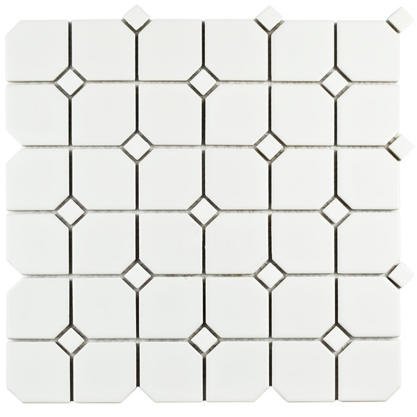 SomerTile 11.75x11.75-inch Victorian Broadway Matte White with White Dot Ceramic Wall Tile (Case of 10)