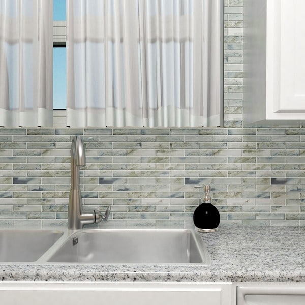 SomerTile 11.75x12-inch Stunning Brick Silver Glass Mosaic Wall Tile (Case of 5)