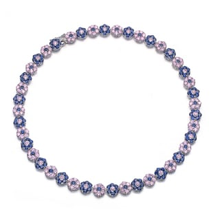 Collette Z Sterling Silver Purple and White Cubic Zirconia Necklace