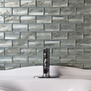 SomerTile 11.75x12-inch Stunning Super Subway Silver Glass Mosaic Wall Tile (Case of 5)