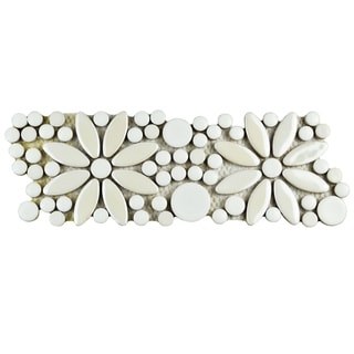 SomerTile 4.25x12.75-inch Andromeda Penny Flower White Porcelain Mosaic Border Floor and Wall Tile (Pack of 10)