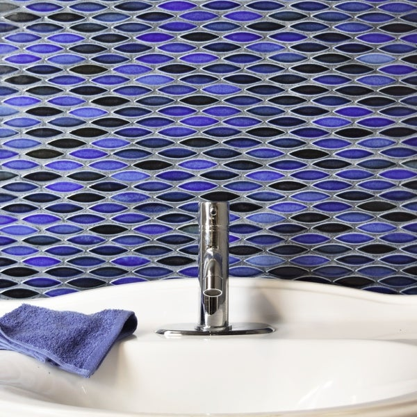 SomerTile 12x12.5-inch Pisces Glossy Azul Ceramic Mosaic Floor and Wall Tile (Case of 5) 17056895