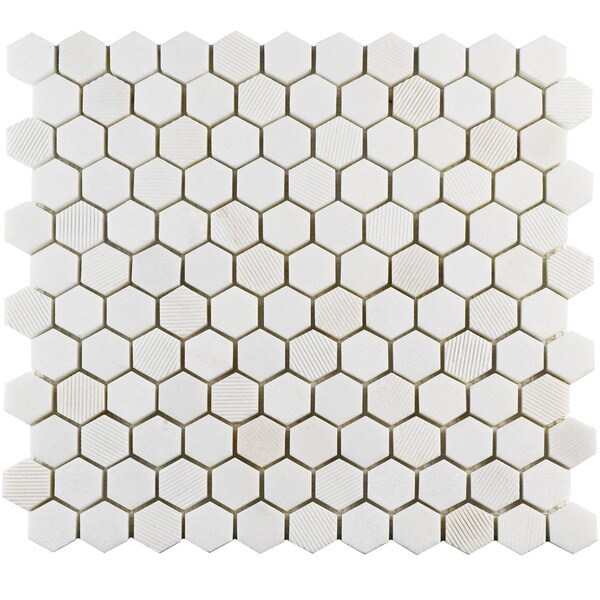 SomerTile 11x11.625-inch Structura Hex Thassos White Marble Mosaic Floor and Wall Tile (Case of 5)