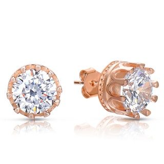 Collette Z Rose Gold Overlay Cubic Zirconia Solitaire Button Earrings