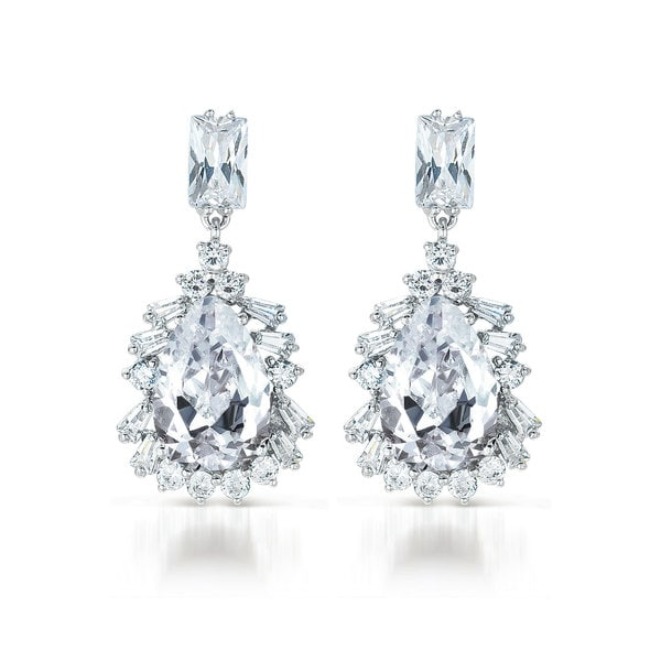 Collette Z Sterling Silver Clear Cubic Zirconia Drop Earrings