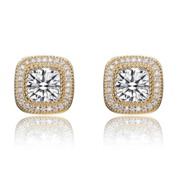 Collette Z Gold Plated Sterling Silver Cubic Zirconia Sparkle Studs