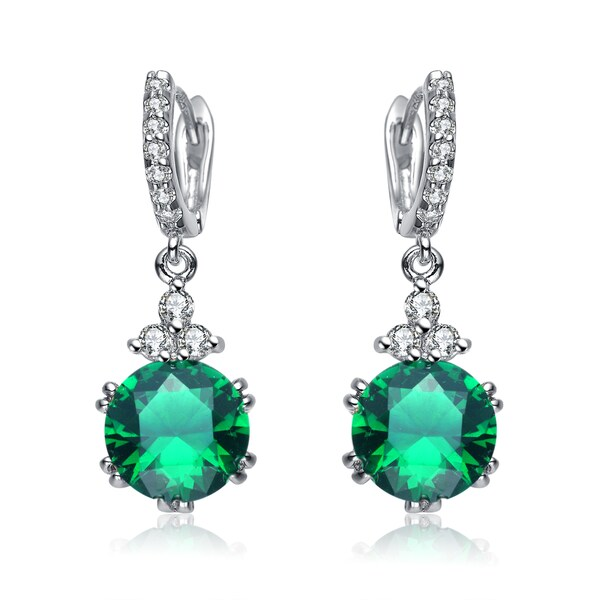 Collette Z Sterling Silver Green Cubic Zirconia Drop Studs