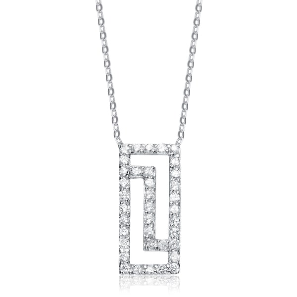 Collette Z Sterling Silver Cubic Zirconia Angular Pendant