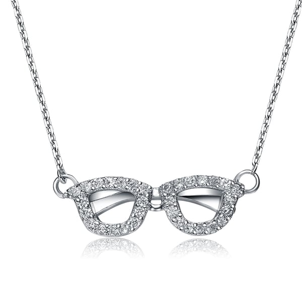 Collette Z Sterling Silver Clear Cubic Zirconia Spectacles Necklace