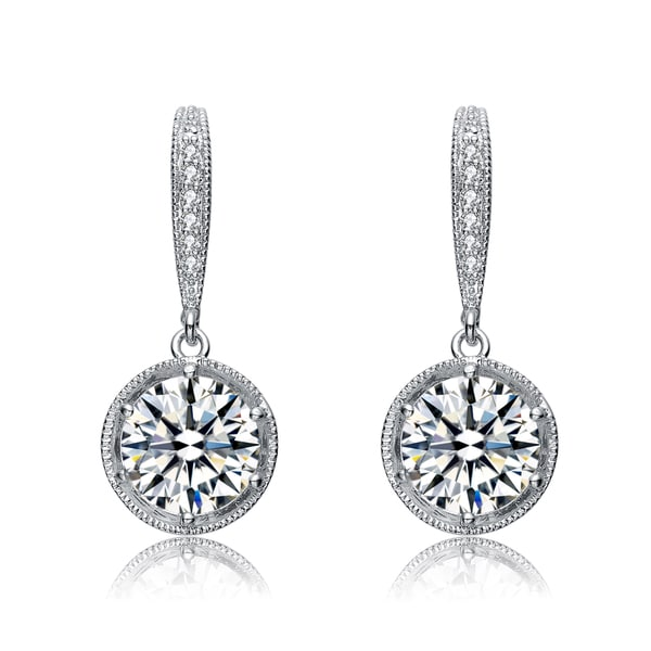 Collette Z Sterling Silver Cubic Zirconia Sparkle Drop Earrings