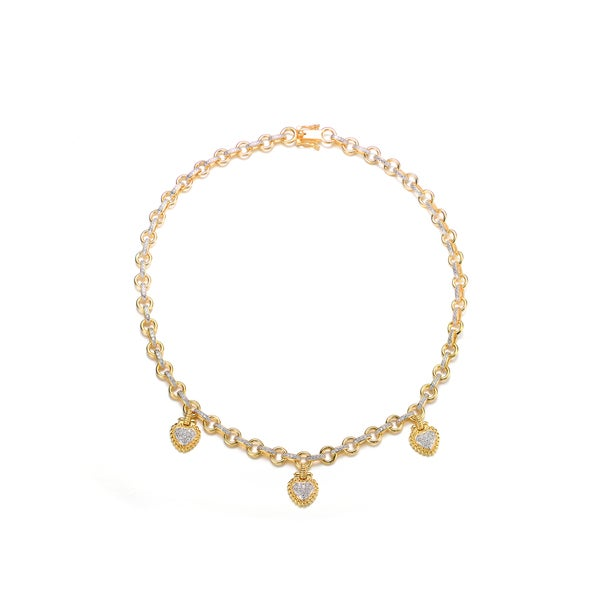 Collette Z Gold Overlay Clear Cubic Zirconia Three Stone Necklace