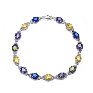 Collette Z Sterling Silver Multicolored Cubic Zirconia Oval Necklace