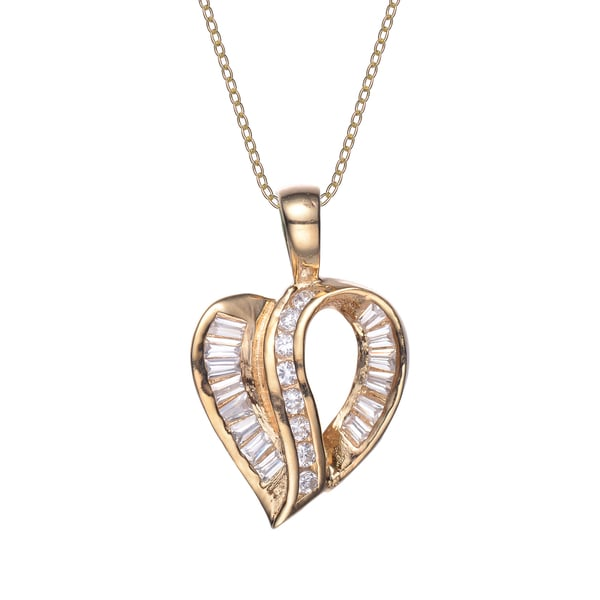 Collette Z Gold Plated Sterling Silver Cubic Zirconia Heart Pendant
