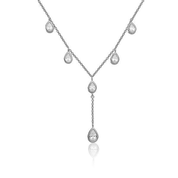 Collette Z Sterling Silver Rhodium Plated Cubic Zirconia Y Necklace