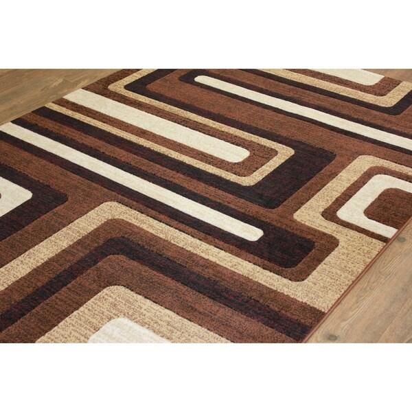 Brown Color Area Rug With Beige Burgundy Black