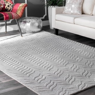 nuLOOM Handmade Carved Chevron Wool Grey Rug (8'6 x 11'6)